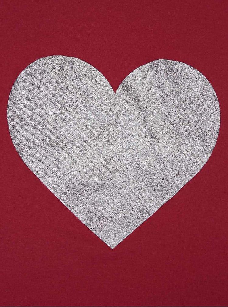 Tmavě červené dámské tričko ZOOT Originál Stříbrné srdce
