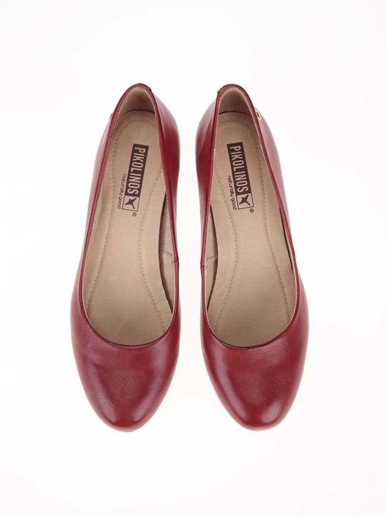 Pantofi cu toc din piele roșii cu vârf maro Pikolinos Salerno