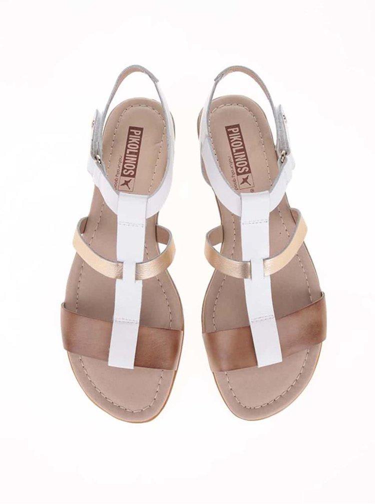 Hnědo-bílé kožené sandálky s metalickým detailem Pikolinos Alcudia