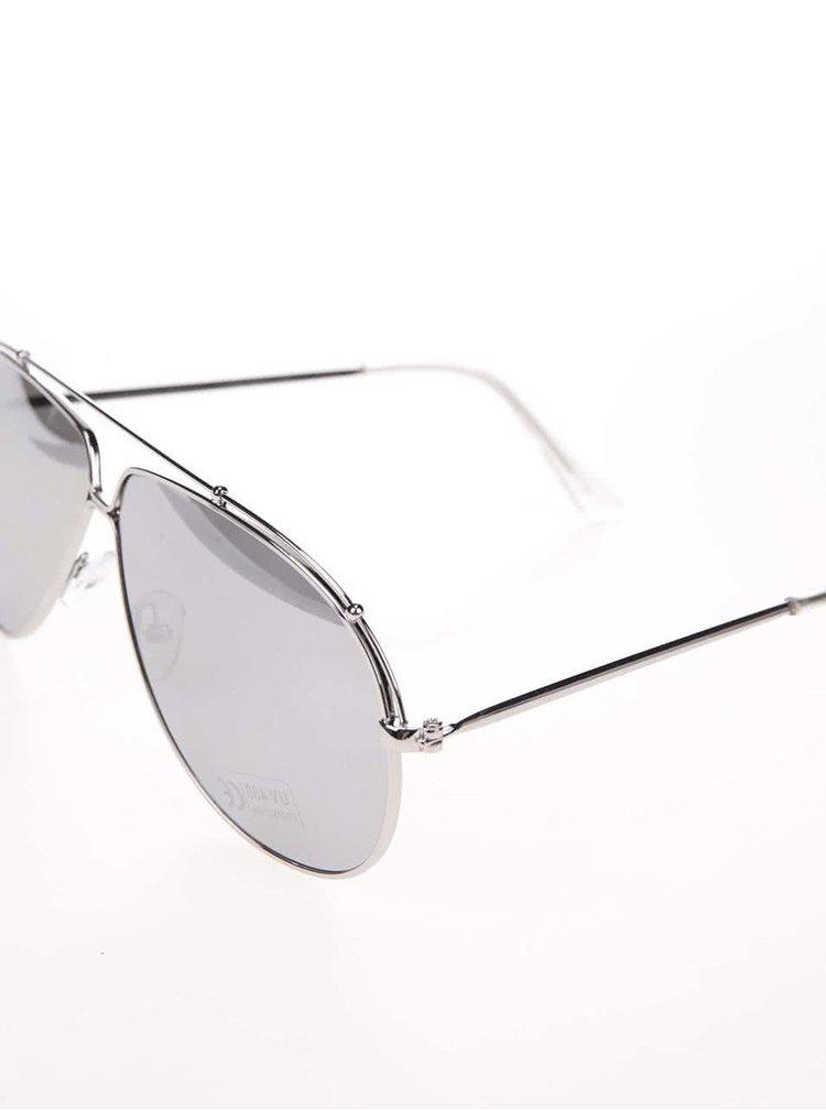 Sluneční brýle se zrcadlovými skly ve stříbrné barvě Pieces Tammy