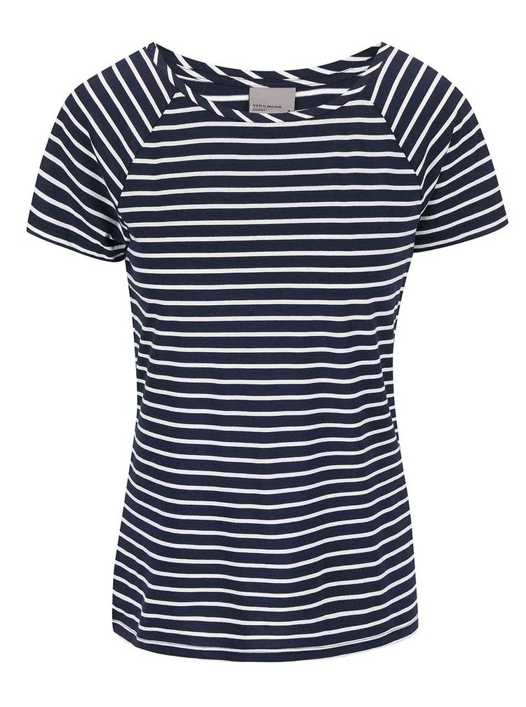 Tmavomodré pruhované tričko VERO MODA Ester