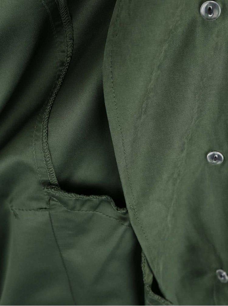 Zelený trenčkot v semišovej úprave VILA Emmely