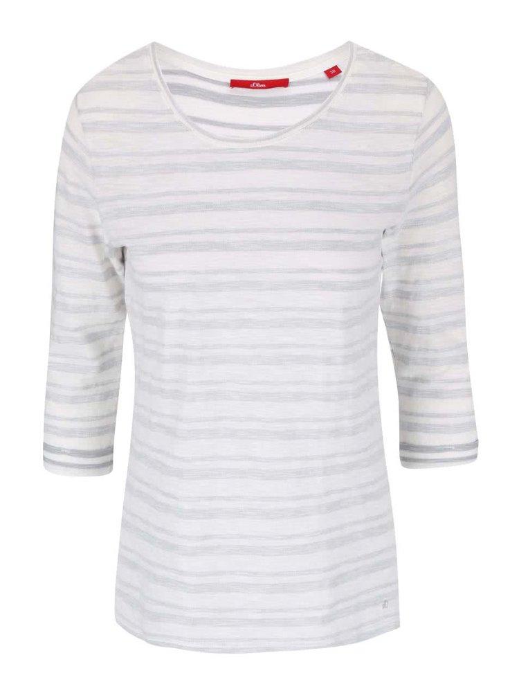 Sivo-biele dámske pruhované tričko s.Oliver