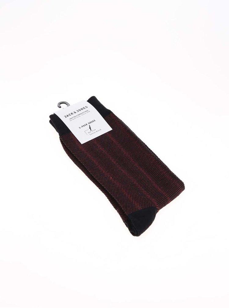 Černé ponožky s červeným vzorem Jack & Jones Faded Structure