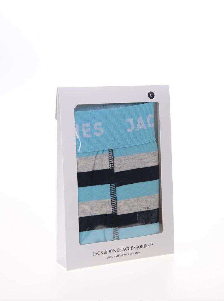 Sivo-modré pruhované boxerky Jack & Jones Stripe