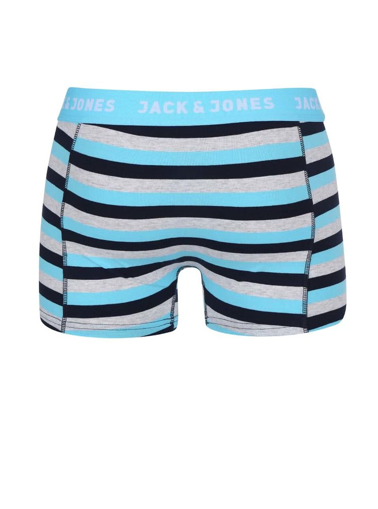 Boxeri gri si albastru cu dungi Jack & Jones Stripe