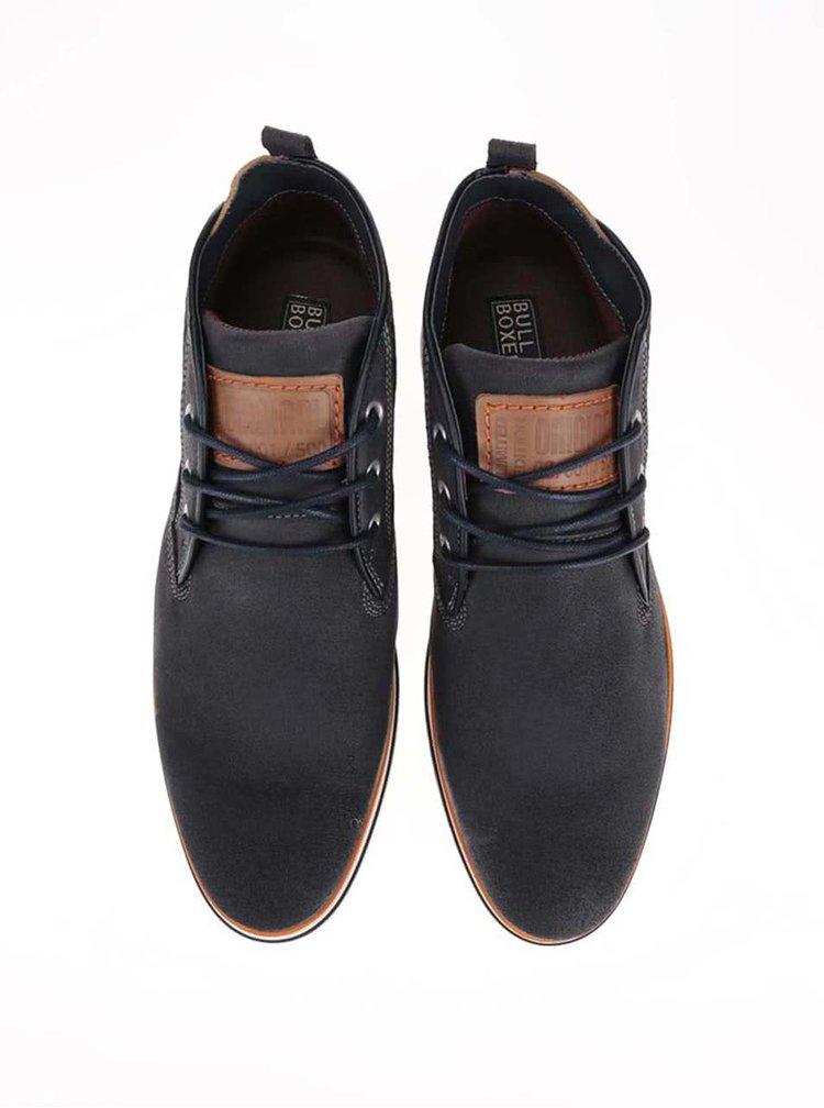 Pantofi sport bărbătești înalți din piele gri cu detalii portocalii Bullboxer