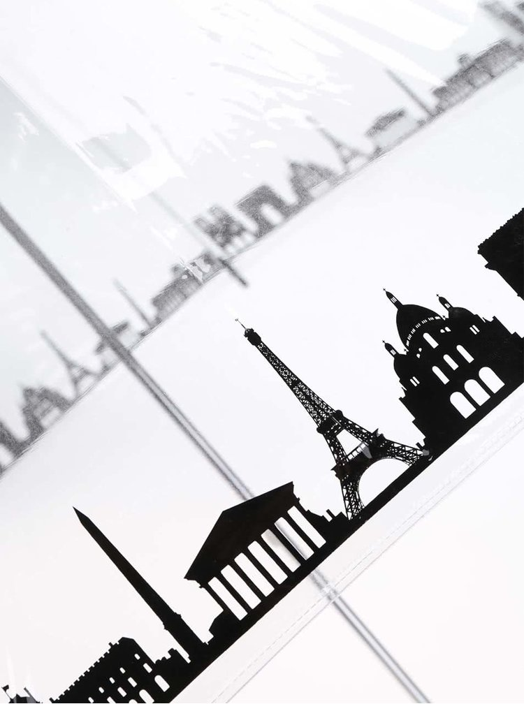 Umbrelă Skyline de la Lindy Lou, transparentă, cu panorama orașului Paris