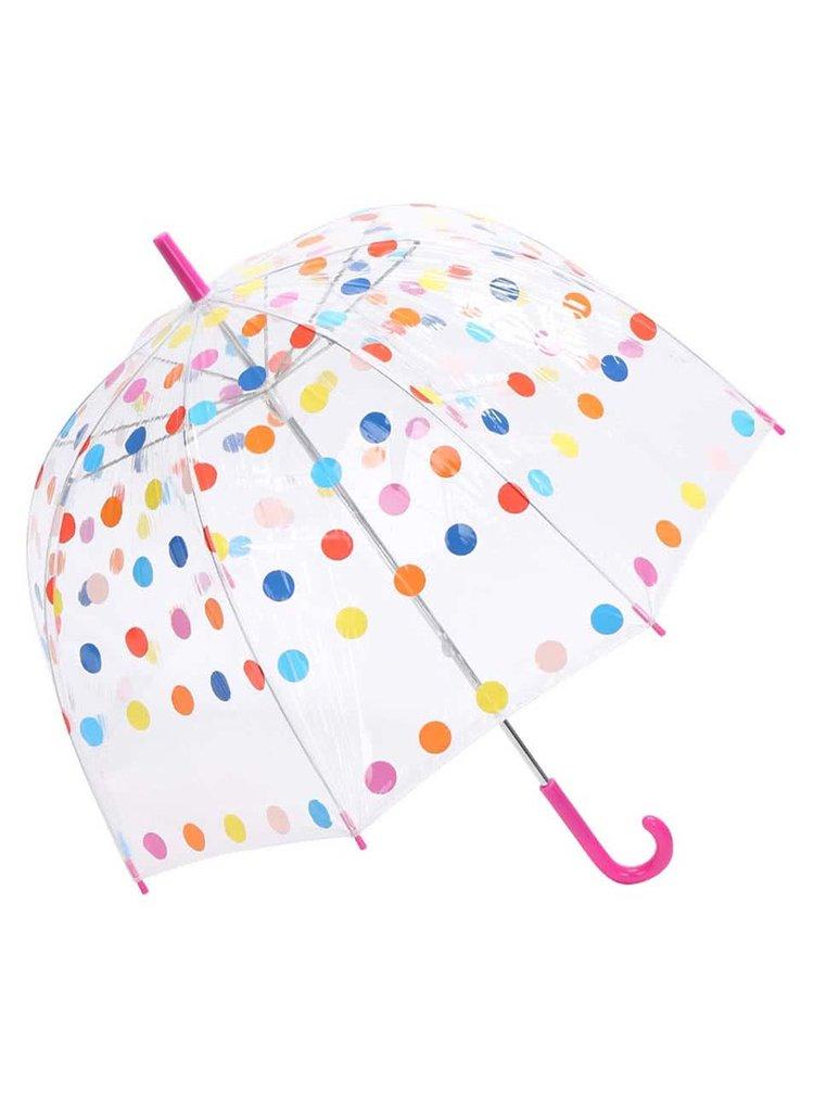 Pestrobarevný puntíkovaný deštník s červeným madlem Lindy Lou