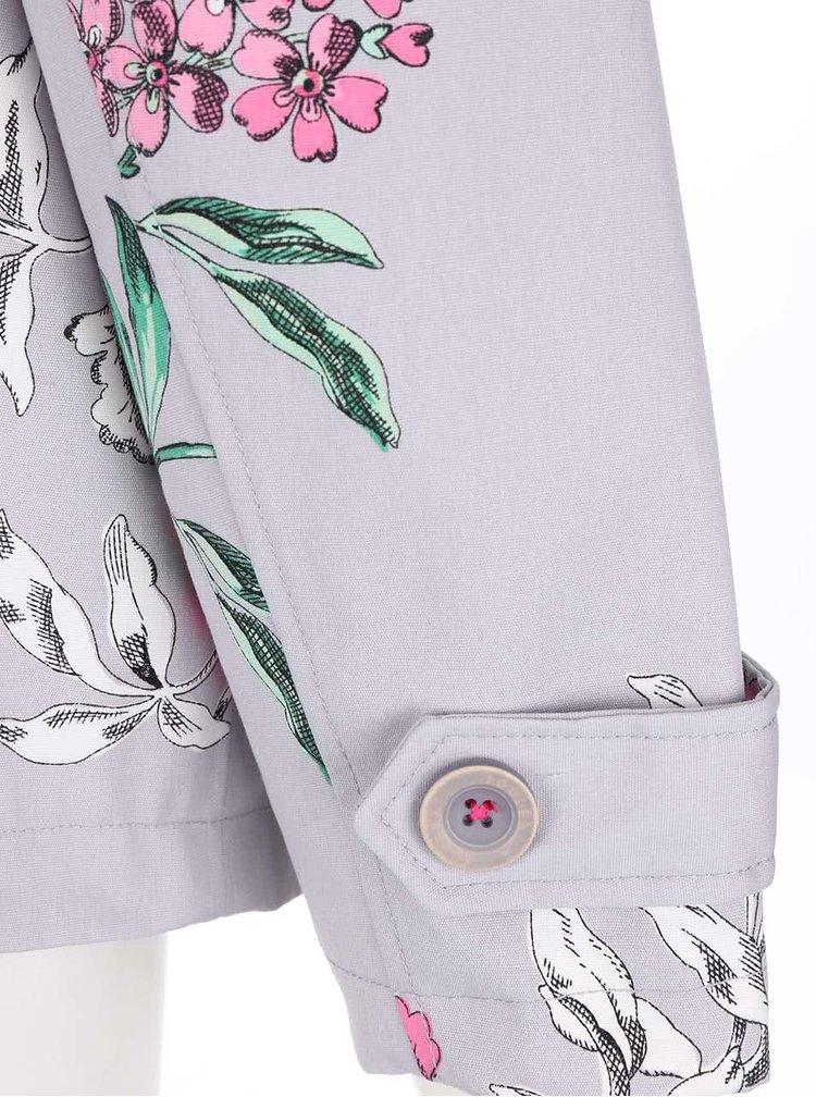 Šedá dámská květovaná bunda s kapucí Tom Joule Coastprint
