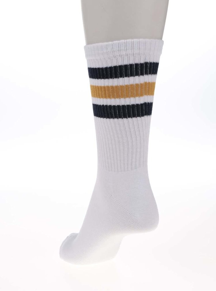 Biele ponožky s modrým a žltým pruhom Jack & Jones Classic