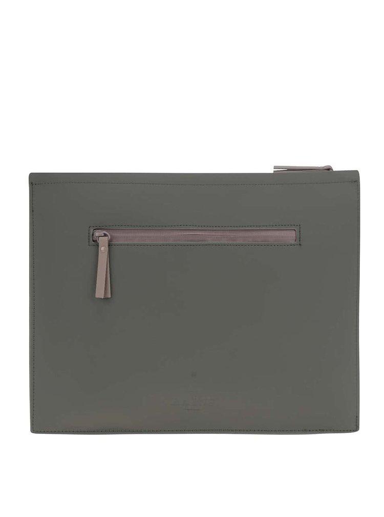 Hnedo-zelené puzdro na dokumenty Rains