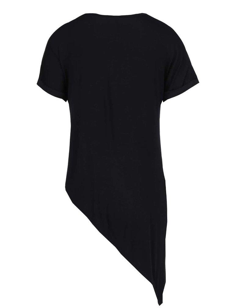 Čierne asymetrické tričko s potlačou Haily's Candy