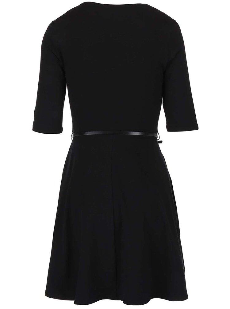 Čierne šaty s 3/4 rukávom a s opaskom Dorothy Perkins