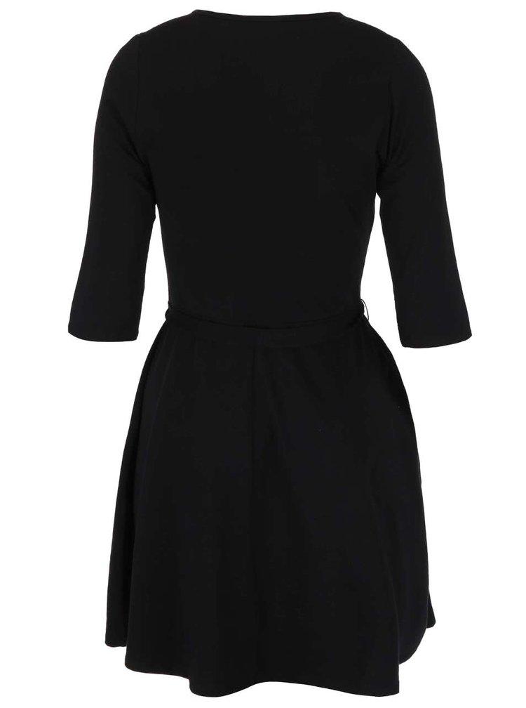 Čierne šaty s 3/4 rukávmi so zaväzovaním Dorothy Perkins Curve