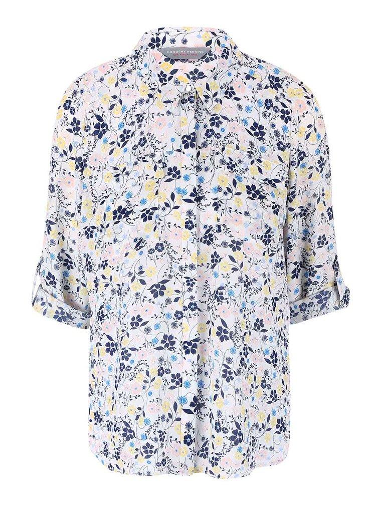 Bílá květovaná košile s 3/4 rukávy Dorothy Perkins Petite