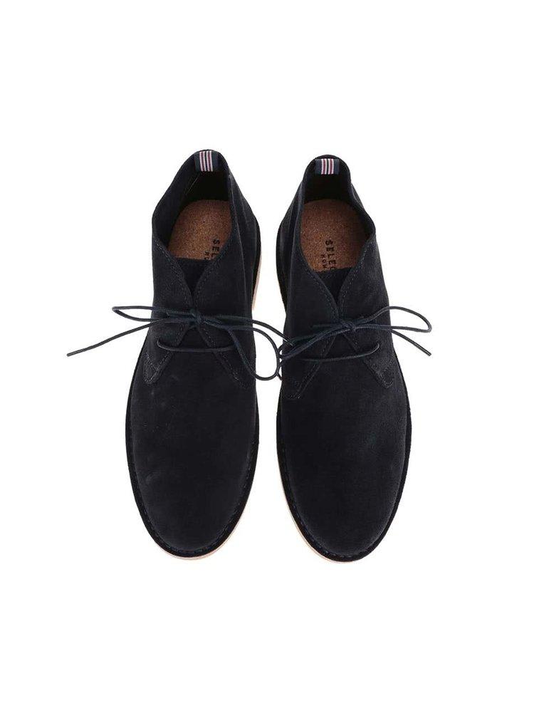 Tmavomodré kožené členkové topánky Selected Royce
