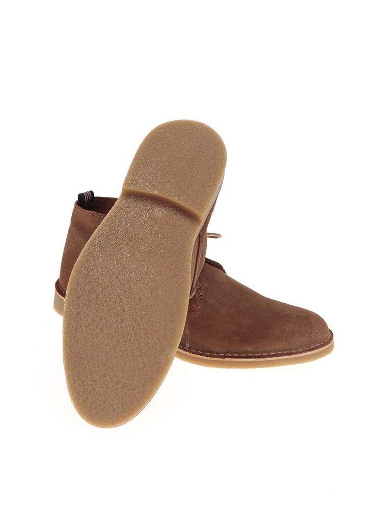Svetlohnedé kožené členkové topánky Selected Homme Royce