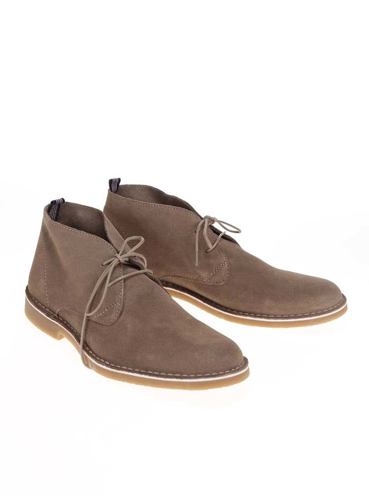 Světle béžové kožené kotníkové boty Selected Royce