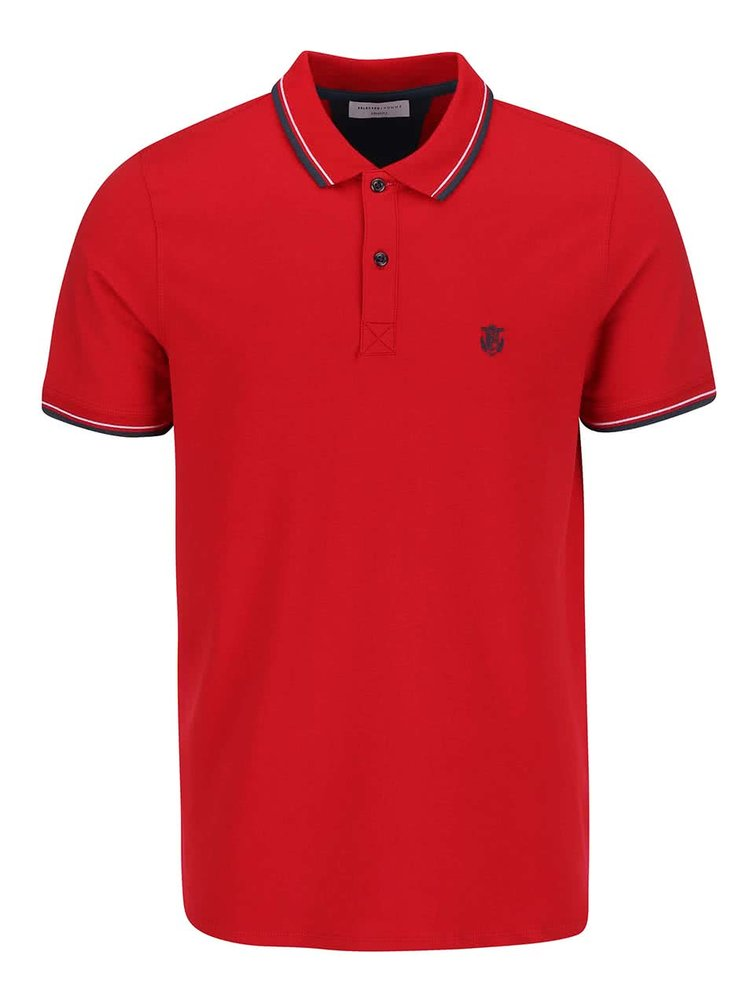 Tricou polo rosu Selected Homme Season