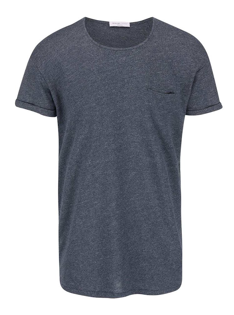Tricou gri-albastru cu buzunar Selected Homme Beech