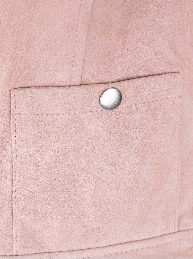 Svetloružová semišová bunda VERO MODA Fina