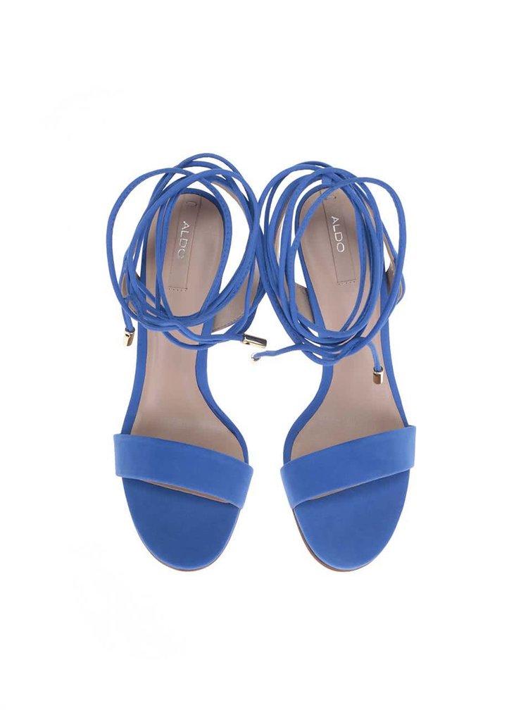 Sandale albastre din piele pe gleznă ALDO Marylin