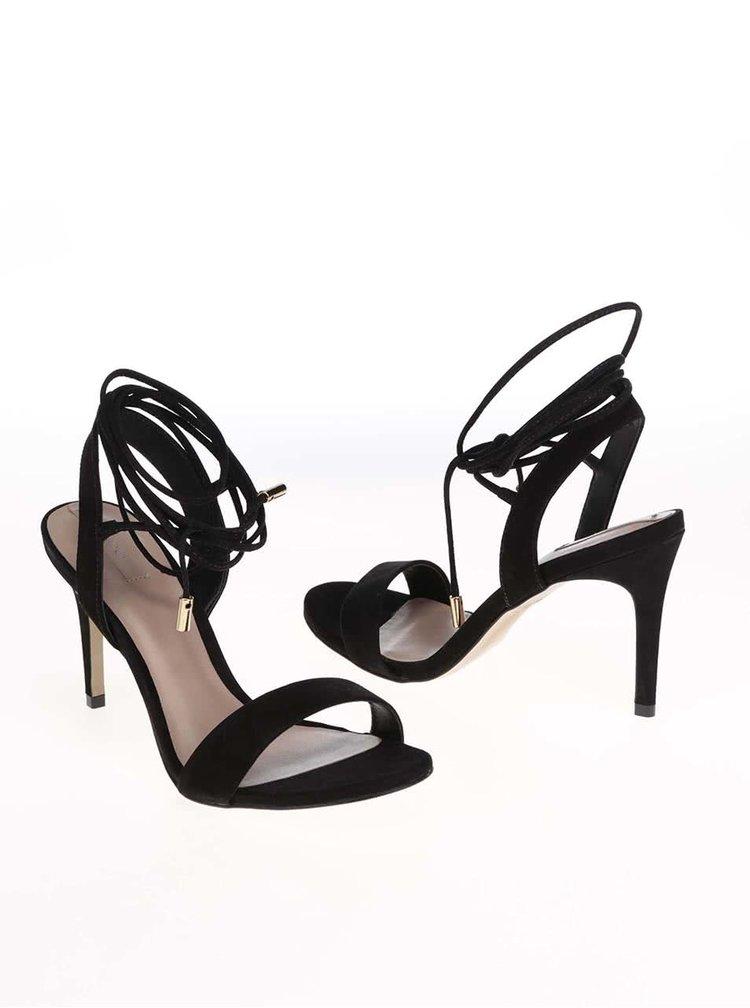 Sandale negre din piele pe glezna ALDO Marylin