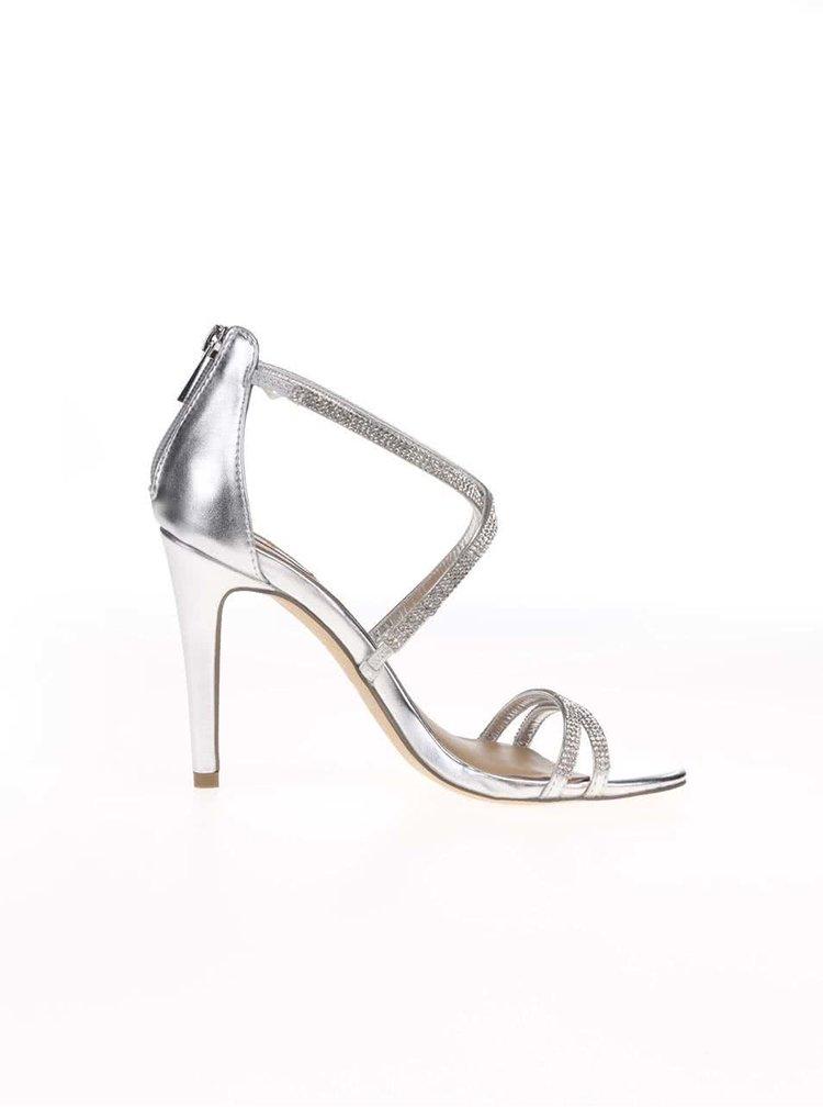 Sandálky v stříbrné barvě na podpatku ALDO Arenani