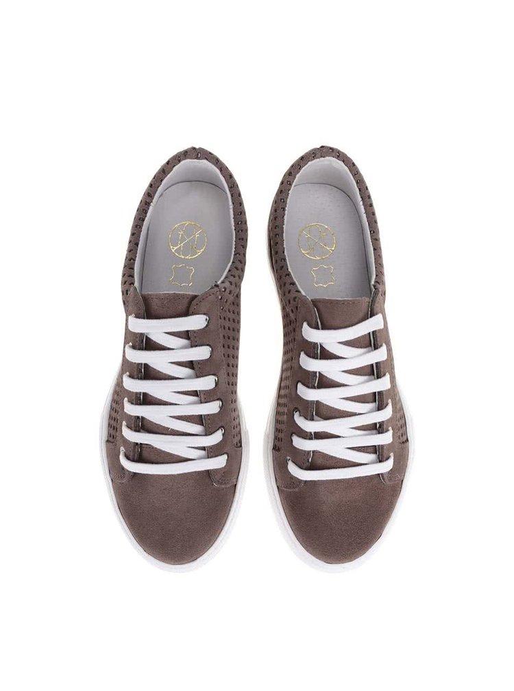 Pantofi sport din piele maro OJJU