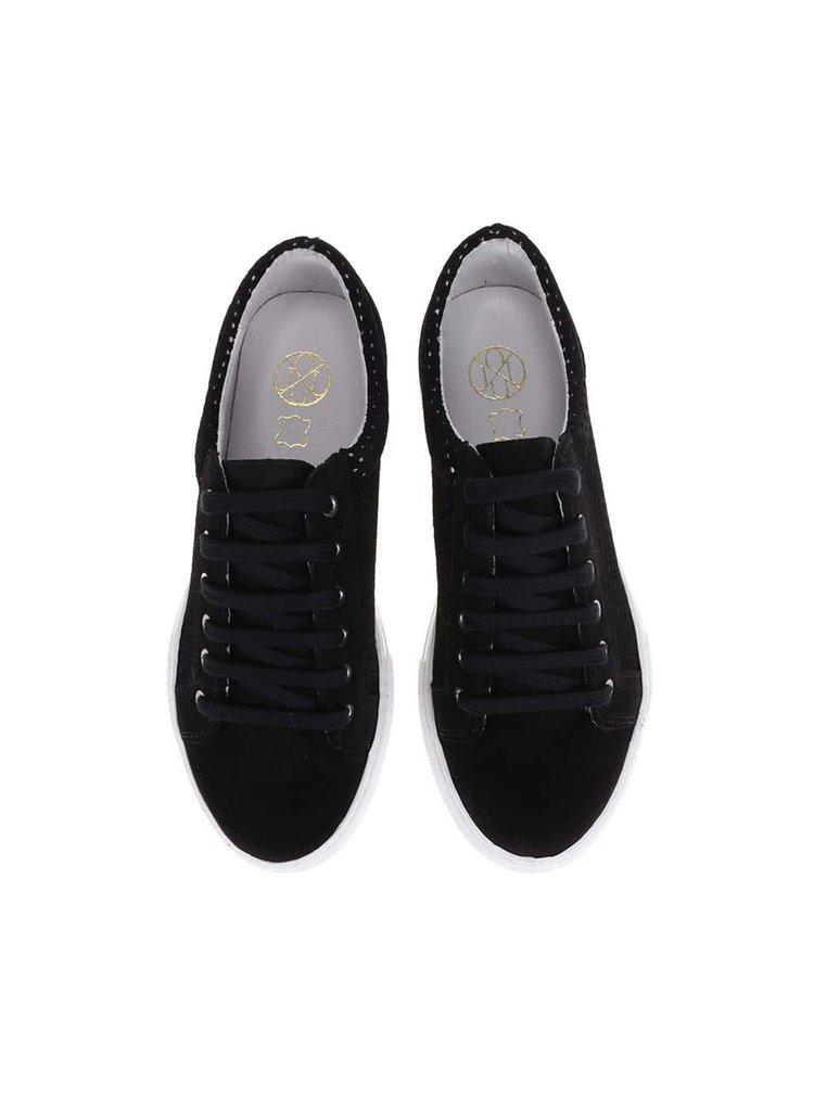 Čierne kožené tenisky OJJU