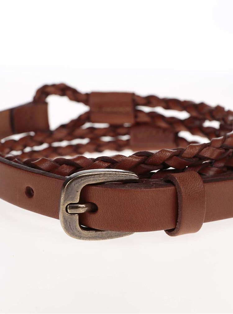 Hnědý kožený proplétaný pásek Pieces Telia