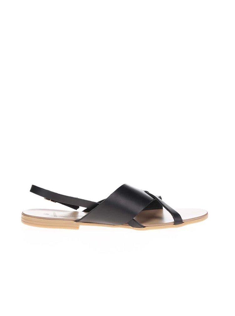 Čierne kožené remienkové sandálky Pieces Joyce