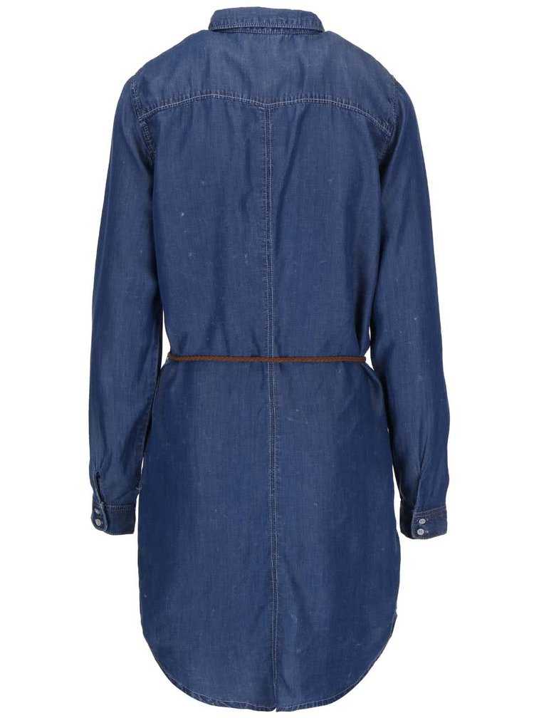 Modré rifľové šaty ONLY Henna