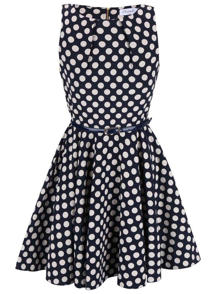 Tmavomodré bodkované šaty s opaskom Closet