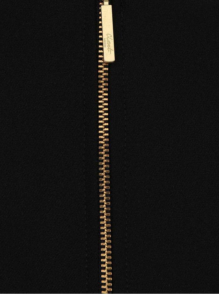 Rochie Closet negru cu crem si fusta imprimata