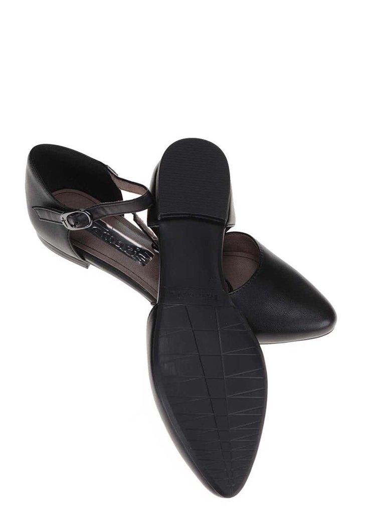 Černé otevřené baleríny s páskem kolem kotníku Tamaris