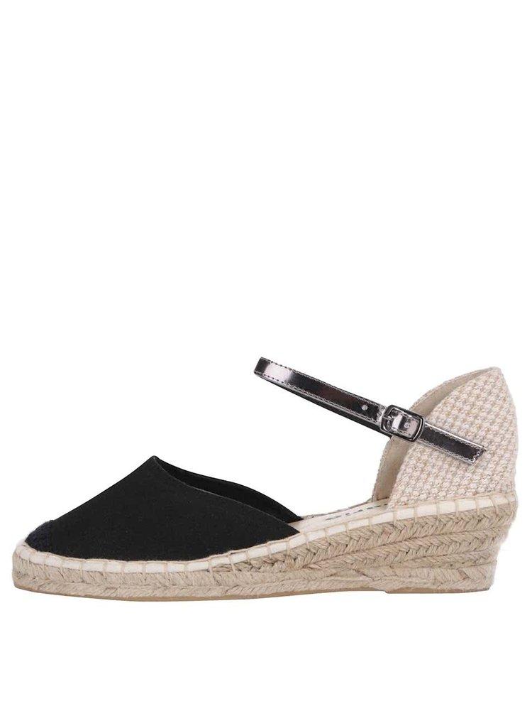 Béžovo-čierne sandále na platforme Tamaris