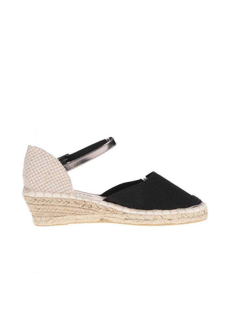 Béžovo-černé sandály na klínku Tamaris