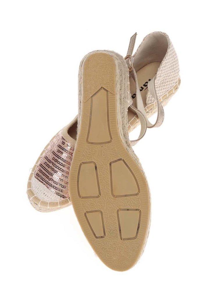 Béžovo-růžové flitrované sandály na klínku Tamaris