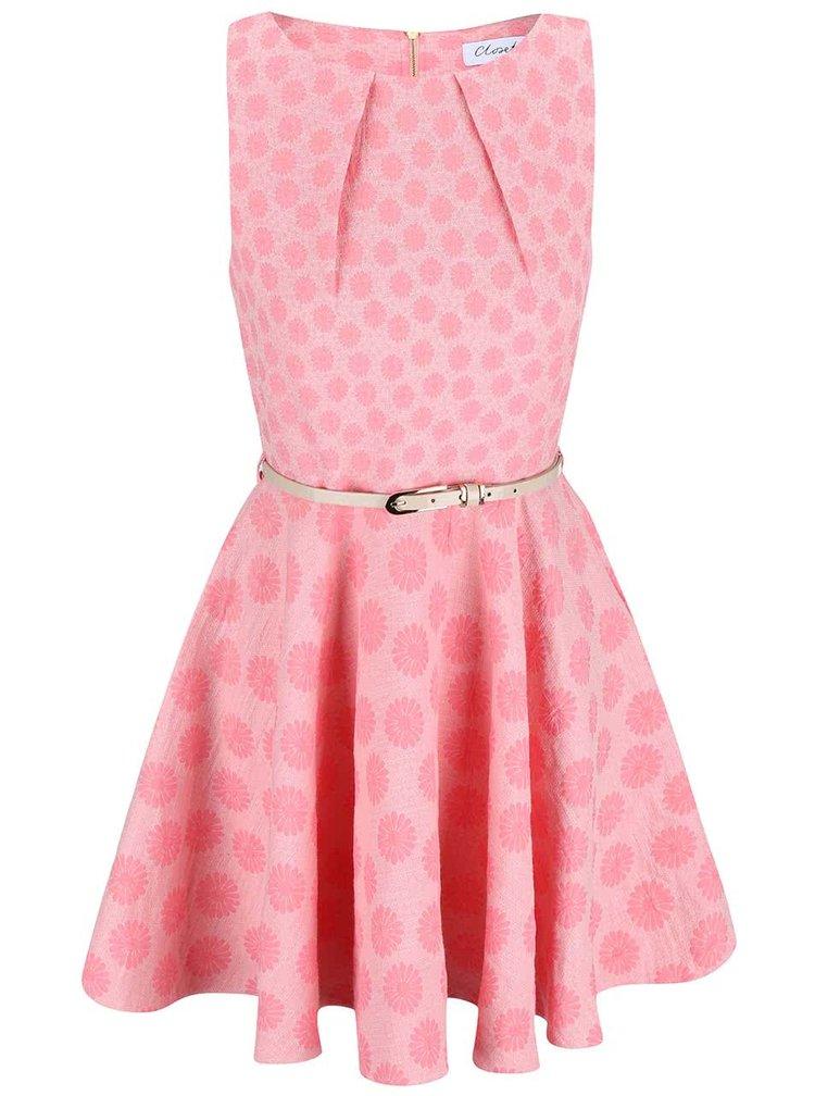 Růžové vzorované šaty s páskem Closet