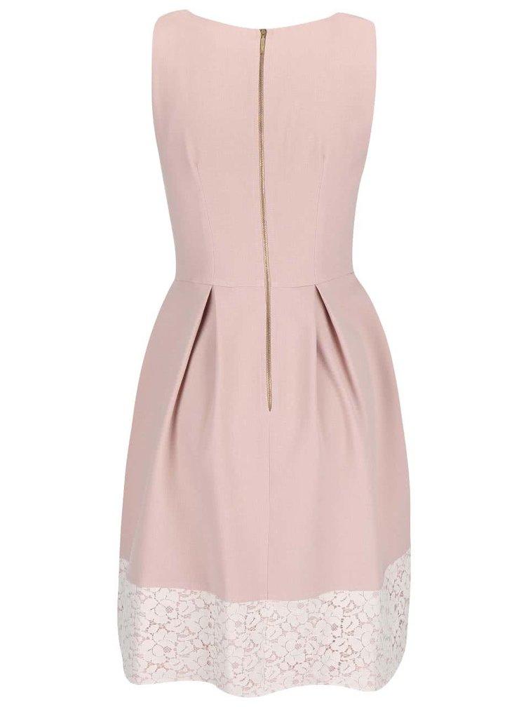 Rochie Closet roz pudrat cu decolteu din dantelă