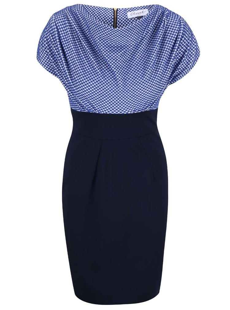 Modré šaty s puntíkovaným topem Closet
