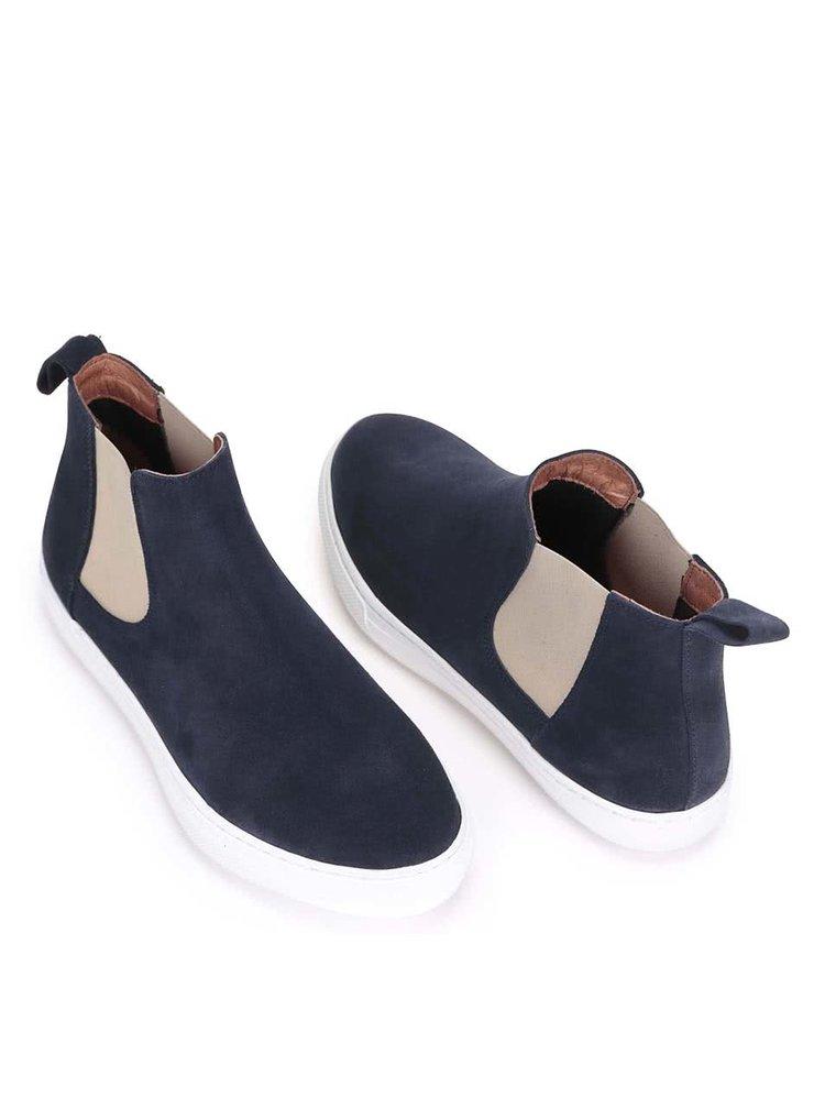 Tmavomodré kožené členkové topánky OJJU