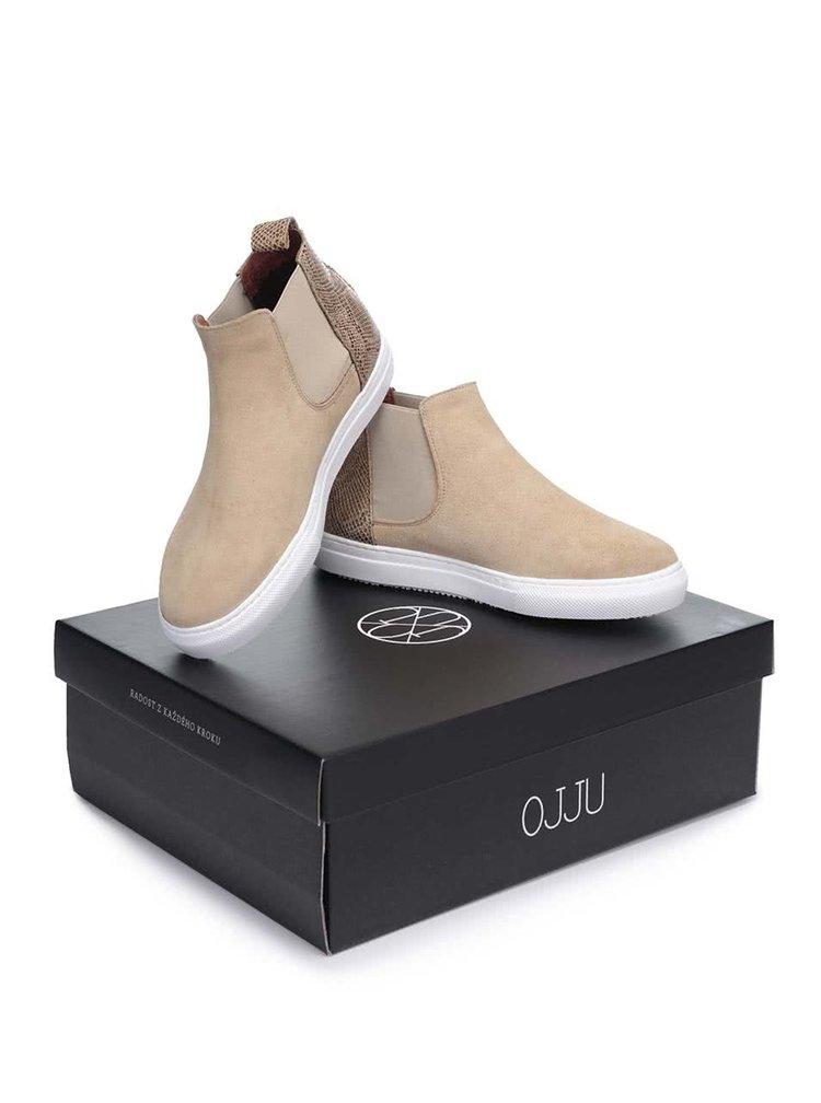 Světle hnědé kožené kotníkové boty OJJU