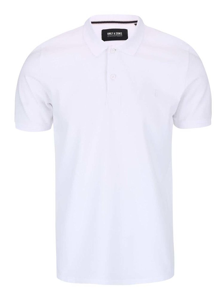 Tricou Polo ONLY & SONS Pique alb