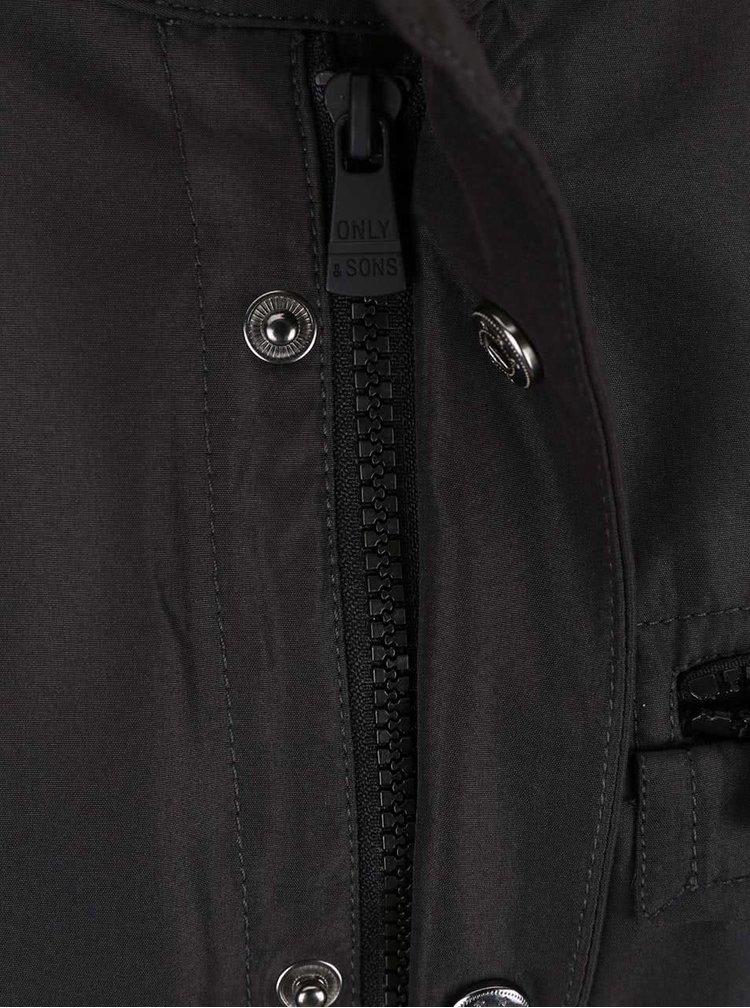 Čierna bunda so stojačikom ONLY & SONS Lasse