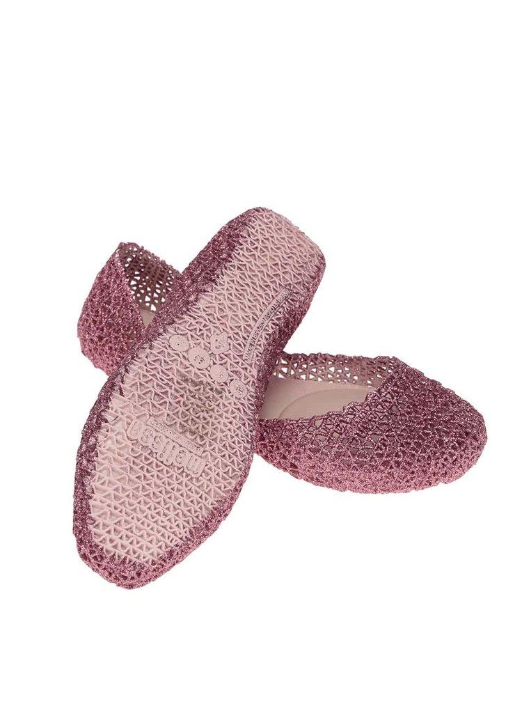 Ružové trblietavé baleríny Melissa Campana Papel