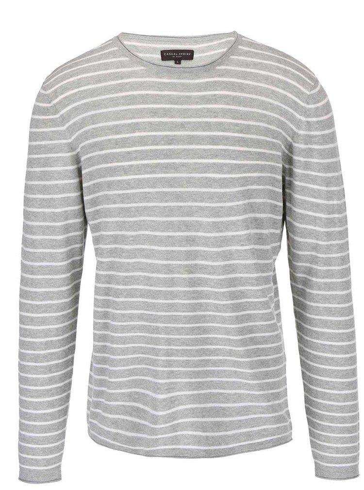 Sivý pruhovaný sveter Casual Friday by Blend