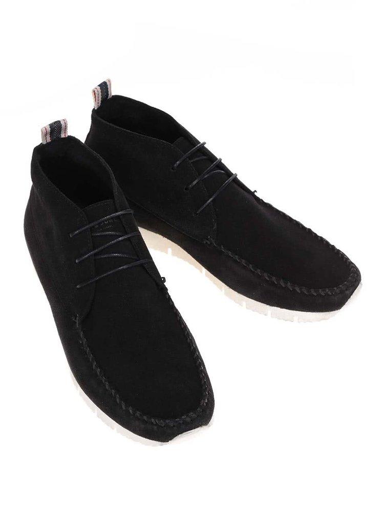 Černé kožené kotníkové boty Jack & Jones Moc